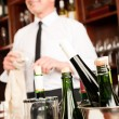 Wine bar bottles waiter in restaurant — Stock Photo