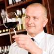 Wine bar waiter looking at glass restaurant — Stock Photo