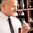 Bar waiter smell glass red wine restaurant — ストック写真