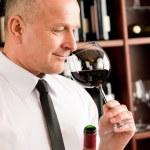 Bar waiter smell glass red wine restaurant — Stock Photo