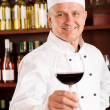 Chef cook wine bar hold glass restaurant — Stock Photo