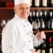 Chef cook wine bar standing confident restaurant — Stock Photo