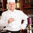 Chef cook relax coffee break restaurant — Stock Photo