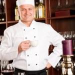 Chef cook relax coffee break restaurant — Stock Photo #8530417