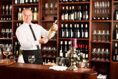Wine bar waiter happy male in restaurant — Stock Photo