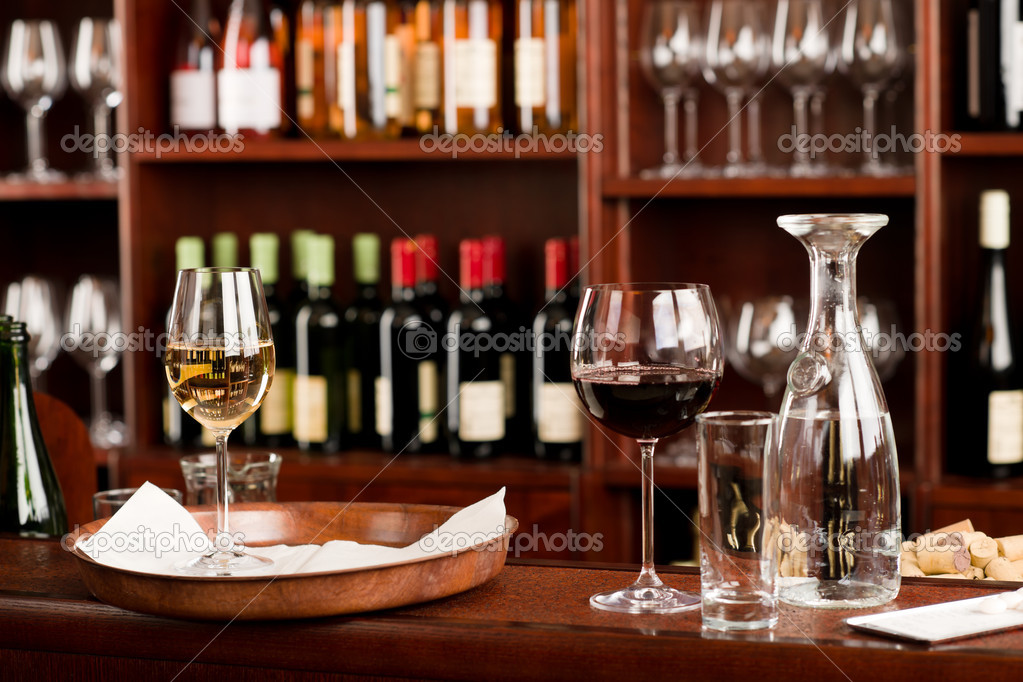 Wine bar tasting set up tray decoration bottles in restaurant — Stock Photo #8530358