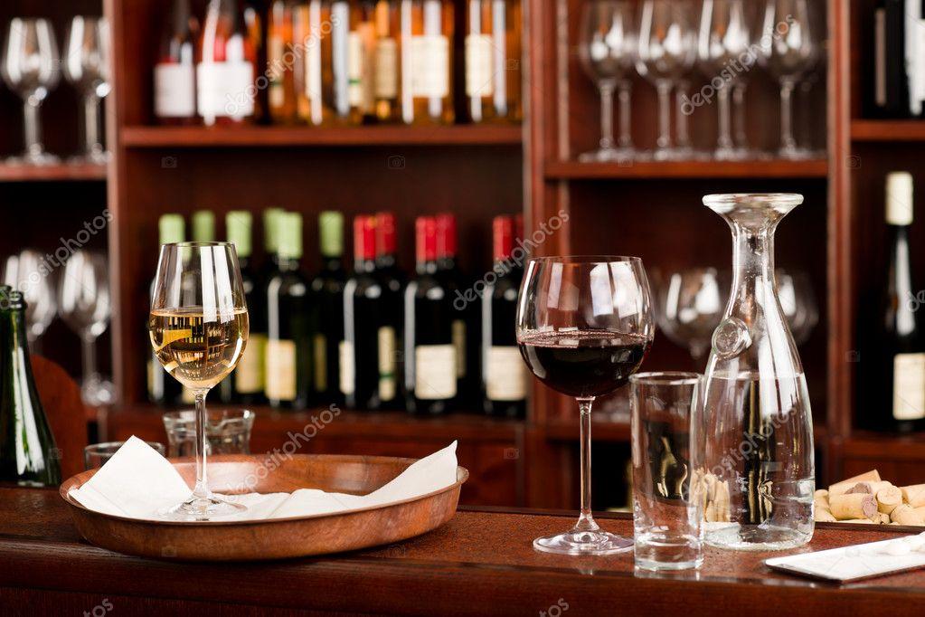 Wine Bar Tasting Set Up Tray Decoration Stock Photo