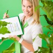 Green business office woman show charts plants — Stock Photo