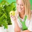 Green office woman smiling hold apple plant - ストック写真