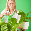 Green business woman water houseplant smiling — Foto Stock