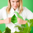 Superhero Businesswoman confident face green plant — Stock Photo