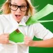 Green Superhero Businesswoman crazy face — Stock Photo