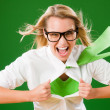 Green Superhero Businesswoman crazy face — Foto de Stock