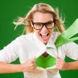 绿色的超级英雄的女商人疯狂的脸 — 图库照片