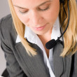 Customer service woman call operator phone headset — Stock Photo #8600505