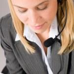 Customer service woman call operator phone headset — Stock Photo #8600505
