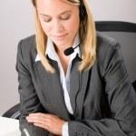 Customer service woman call operator phone headset — Stock Photo