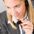 Customer service woman call operator phone headset — Foto de stock #8600532
