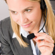 图库照片: Customer service woman call operator phone headset