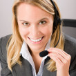 Customer service woman call operator phone headset — Photo