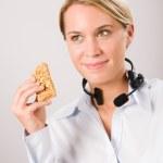 Customer service woman operator have break snack — Stock Photo
