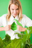 Superhero Businesswoman confident face green plant — Foto Stock