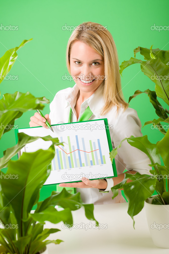 Green business office woman show charts plants environment friendly smiling  Stock Photo #8600286