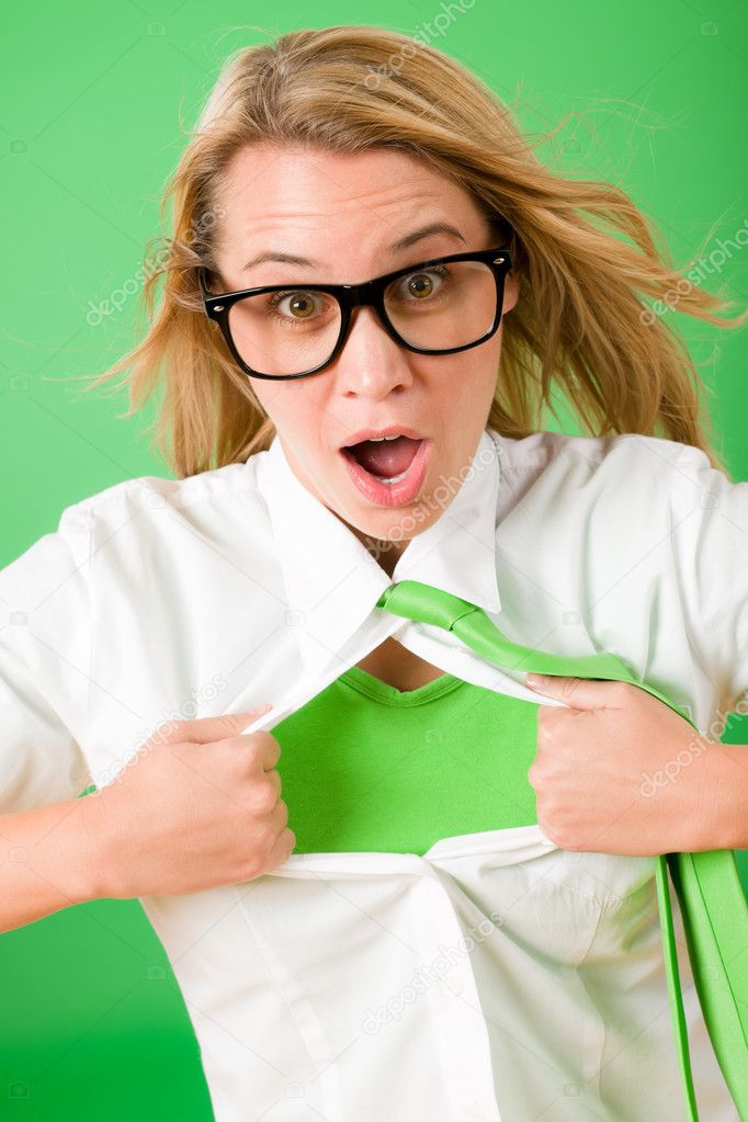 Green Superhero Businesswoman crazy face  Emerges from shirt — Stock Photo #8600425