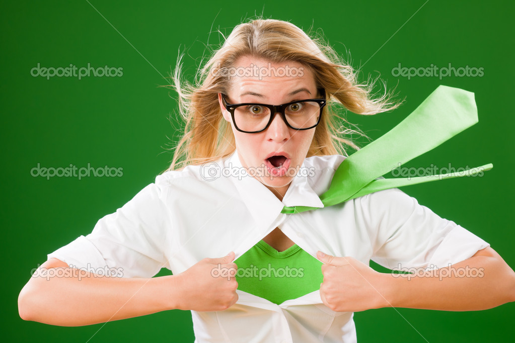 Green Superhero Businesswoman crazy face  Emerges from shirt  Stockfoto #8600431