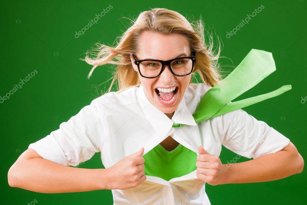 Green Superhero Businesswoman crazy face  Emerges from shirt — Stock Photo #8600450