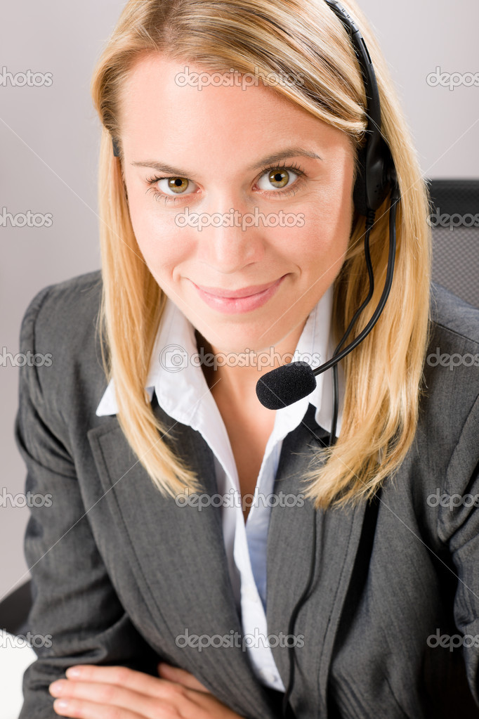 Customer care service center woman call operator phone headset — Stock Photo #8600516