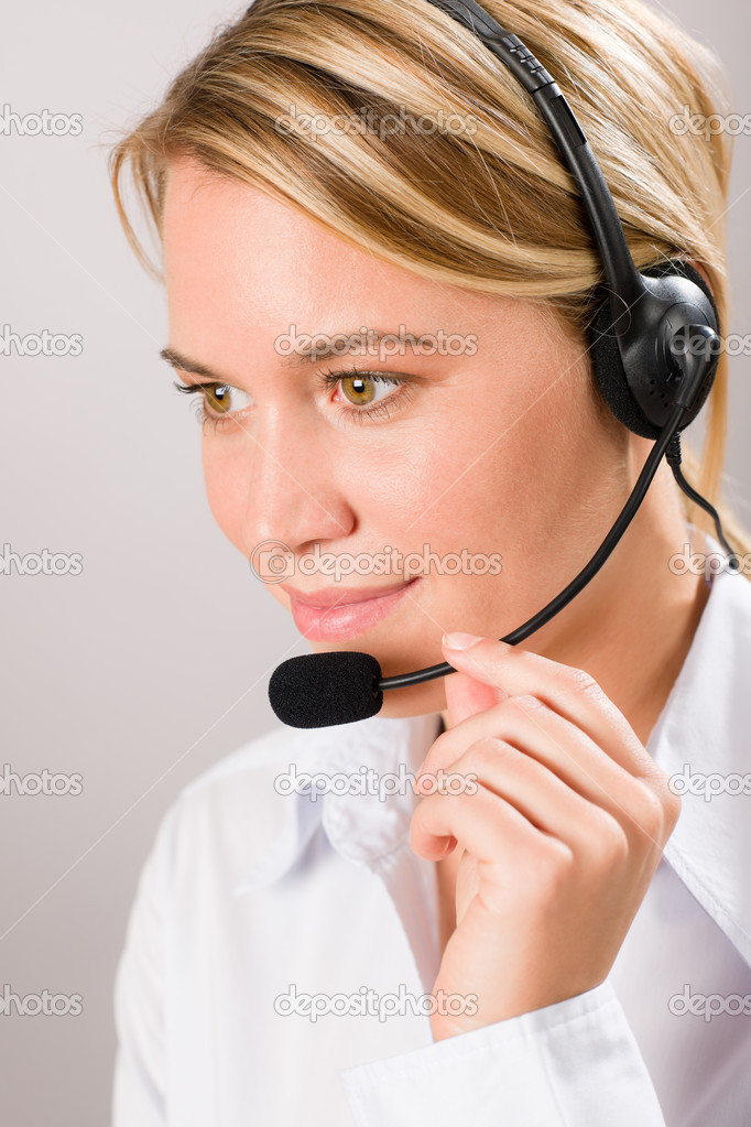 Customer care service center woman call operator phone headset — Stock Photo #8600544