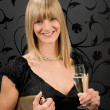 Glamorous blond woman party dress drink champagne — Stockfoto