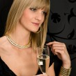 Glamorous blond woman party dress drink champagne — Foto de Stock