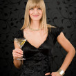 Woman party dress hold cocktail glass — Stock Photo #8843415