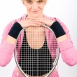 Tennis player woman young smiling leaning racket — Stock Photo