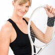 Tennis player woman young smiling hold racket — Stock Photo