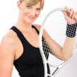 Royalty-Free Stock Photo: Tennis player woman young smiling hold racket