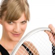 Tennis player woman young smiling hold racket — Stock Photo #8843473