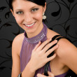 Woman party dress young smiling portrait — Stockfoto