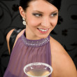Woman party dress hold cocktail glass — Stock Photo #8849180