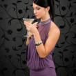 Woman party dress drink cocktail glass — Stock Photo #8849186
