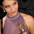Woman party dress drink champagne glass — Stock Photo