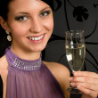 Woman party dress drink champagne glass — Stock Photo #8849200