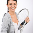 Tennis player woman young smiling hold racket — Stock Photo #8849207