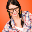 Crazy girl wear nerd glasses smiling — Stock Photo