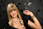 Glamorous blond woman party dress drink champagne — Stock Photo