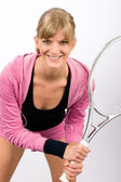 Tennis player woman young smiling serve racket — Foto de Stock