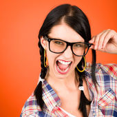 Crazy girl wear nerd glasses shouting — Zdjęcie stockowe