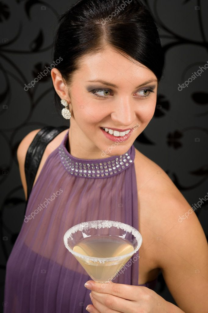 Woman party dress hold cocktail glass smiling look aside — Stock Photo #8849180